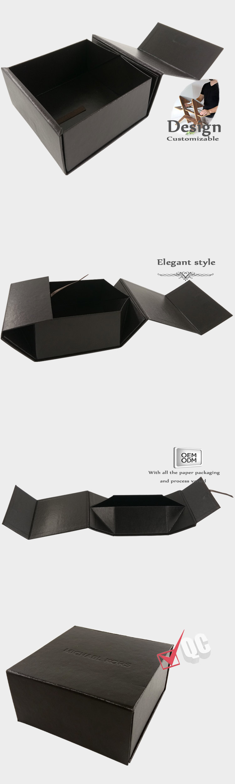 Folding gift boxes with magnetic catch
